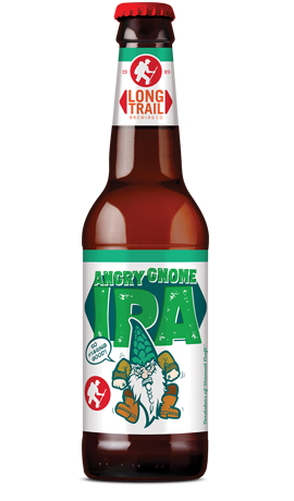 Single 12oz. glass bottle of Long Trail Angry Gnome IPA